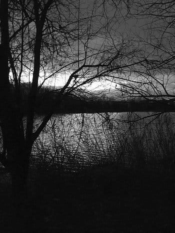 Stmívání u rybníka