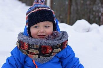 pravnouček Dominik a sněhu