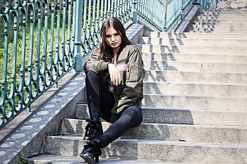Monika a stairs