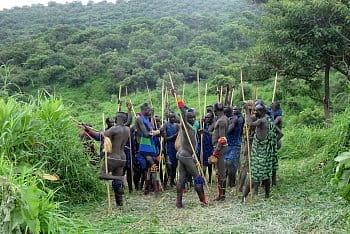 Bojovníci, kmeň Surma, Etiópia
